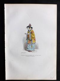 Grandville 1842 Hand Col Print. Chinese Cat